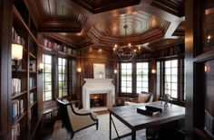 Elaborate ceiling in wood gives this traditional home office a timeless look - Decoist