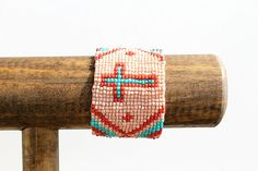 Pink and Turquoise Seed Bead Cuff by RuralHaze on Etsy, $14.95
