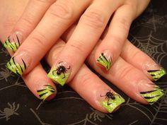 Cute Halloween Nails, Halloween Nail Designs, Cute Nail Designs, Gel Designs, Halloween Spider, Happy Halloween, Love Nails, How To Do Nails, Fun Nails