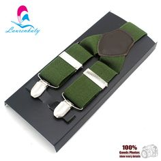 2016 Army Green Unisex New Adult Mens Suspenders solid Adjustable Size 3clips Leather Fittings Braces MBD8304 High Quality