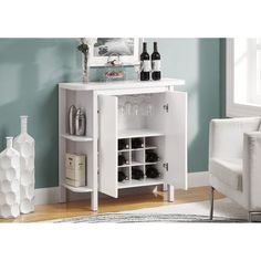 Amazon.com: Monarch Bar Unit with Bottle and Glass Storage, 36-Inch, White: Home & Kitchen