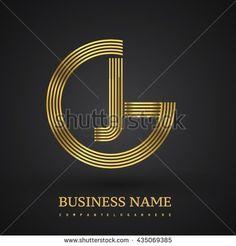 Letter GJ or JG linked logo design circle G shape. Elegant gold colored letter symbol. Vector logo design template elements for company identity. - stock vector