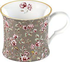 Katie Alice Ditsy Grey Floral Shabby Chic Fine Bone China Palace Mug with  G.. c0f112ce4ee