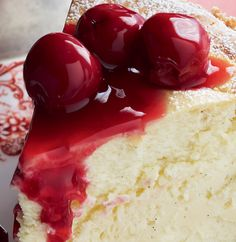 cake with icing sugar and cherries