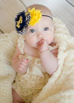 Baby Girl Headbands... Baby Headband...Navy Yellow Chevron Bow Headband on Navy Skinny Band ... Toddler Headband... Flower Headband