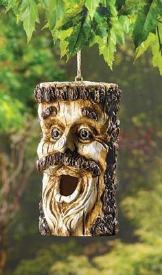 Decorative Carved Face Birdhouses