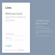 CSS/SVG Lines App Concept Coding Animation App Code CSS CSS3 Form HTML HTML5…