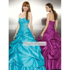 Ball Gown Sweetheart Taffeta With Beadeding Ruched Layered Prom Dress PD35033 at belloprom.com