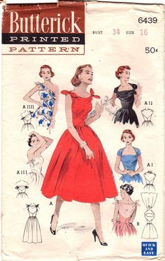 Butterick 6439 1950s Misses Infinate Convertible Swing Dress Pattern One Shoulder Strapless Evening Cocktail womens vintage sewing pattern by mbchills