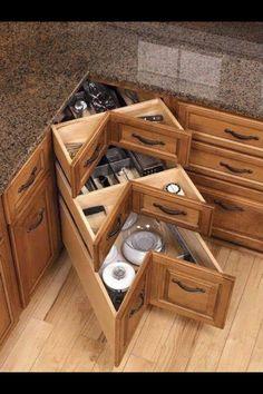 Organization and Storage Hacks for Small Kitchens --> DIY kitchen corner drawers Most Popular Kitchen Design Ideas on 2018 & How to Remodeling Kitchen Ikea, Kitchen Drawers, Kitchen Decor, Kitchen Hacks, Space Kitchen, Kitchen Trends, Kitchen Furniture, Kitchen Island, Kitchen Pantries
