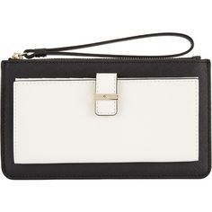 kate spade new york Cameron Street Karolina Leather Wristlet Purse (160 CAD) ❤ liked on Polyvore featuring bags, wallets, kate spade wallet, zip wristlet wallet, genuine leather wallet, zip wallet and leather coin wallet