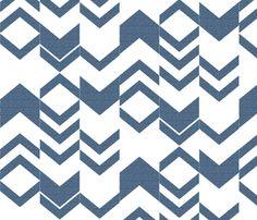 Canvas Denim Blue Chevron fabric by fridabarlow on Spoonflower - custom fabric
