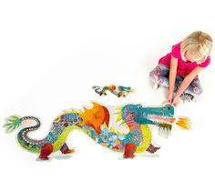 Djeco Leon The Dragon Giant Puzzle by Hotaling Imports - $18.95