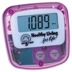 #StandardPedometer in translucent case measures distance traveled by miles up to 9999 miles. Individually tested for accuracy. Individual stride calibration.