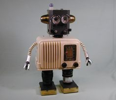BROADCAST  Found Object Robot  Sculpture by NutzenBoltsWorks