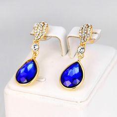 Women Crystal Rhinestone Flower Ear Stud Earrings Fashion Jewelry