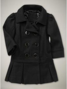 Love the drop waist and pleated hem - such a cute coat for a little girl!