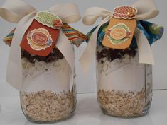 This could go into a few catagories.  Cute gift tag made with SU! Cannery Framelits & cookies in a jar mix.