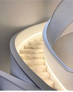 What a great stairway! I love the design of this staircase especially with all of the added lights. Makes for a great atmosphere and vibe with the lighting! Staircase Handrail, Interior Staircase, Grand Staircase, Stair Railing, Staircase Design, Stair Lift, Marble Stairs, Stair Lighting, Home Room Design