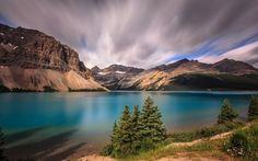Scarica sfondi albert, lago di montagna, sunset, alberta, banff, rocce, canada, montagne, bow lake