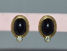 GIVENCHY 18kt Gold Plated Earrings with Black by JewelryBoulevard