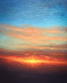 Yet another sunset. Oil on canvas panel. Nial Adams, Norfolk landscape artist and oil painter.