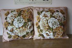 Pair of Vintage 1950's Floral Print Cushions by BotanicalVintage