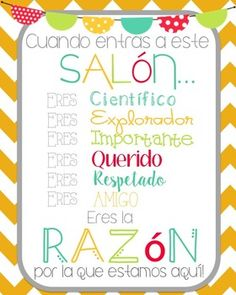 """""""when you enter this classroom"""" """"Cuando entras a este Salon"""" This popular freebie is now available in SPANISH! Organization And Management, Classroom Management, Beginning Of School, Back To School, Harry Potter Teachers, Preschool Spanish, Teachers Aide, School Grades, Elementary Teaching"""
