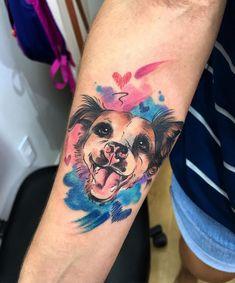 Puppy Tattoo, I Tattoo, Cool Tattoos, Tatoos, Animal Tattoos, Pet Tattoos, Memorial Tattoos, Cute Puppies, Watercolor Tattoo