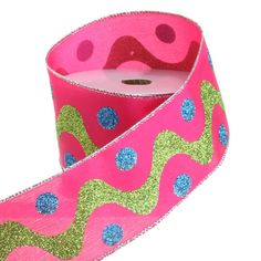 RAZ Candy Wonderland 2.5 inch Pink with Green Wave Wired Ribbon