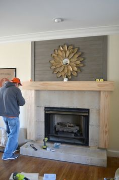 Fireplace Makeover Wood Mantel Build