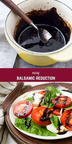 Balsamic Reduction is a simple sauce that can elevate a dish to the next level, and it's so easy to make at home! It only takes one ingredient and just a little time to create this sweet, tangy, syrupy sauce. Balsamic Reduction Recipe, Balsamic Glaze Recipes, Balsamic Reduction Sauce, Honey Balsamic Glaze, Honey Balsamic Dressing, Sauce Recipes, Cooking Recipes, Healthy Recipes, Yummy Recipes