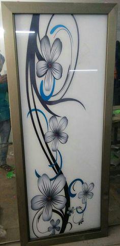 Glass Painting Designs, Paint Designs, Window Glass Design, Glass Etching, Glass Doors, Flower Designs, New Art, Glass Art, Interior Design