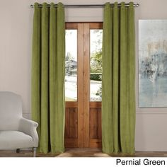 Exclusive Fabrics Signature Solid-colored Grommet Blackout Velvet Curtain (Pernial Green- 96L), Green, Size 50 x 96