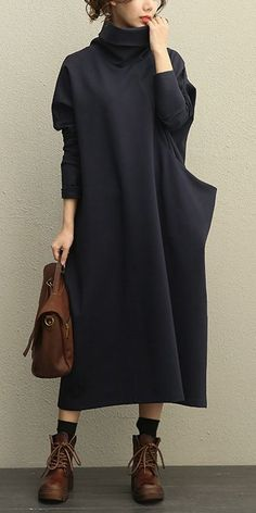 Casual High Neck Thick Maxi Dresses Women Loose Clothes 208 Casual High Neck Thick Maxi Dresses Women Loose Clothes 208 Related Casual Summer Fashion Outfits Trends - Passt zu Ihrem eigenen Stil anstatt. Women's Dresses, Casual Dresses, Fashion Dresses, Casual Clothes, Dresses Online, Formal Outfits, Sweater Dresses, Winter Clothes, Bridal Dresses