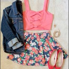 Bow Crop Top Floral Skirt and Jean Jacket Outfit