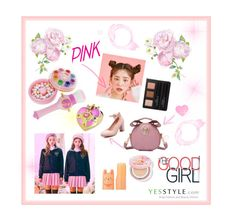 """""""yesstyle beauty PEACH PINK"""" by seuseuu ❤ liked on Polyvore featuring Pastel Pairs, Tony Moly and Lucky Chouette"""