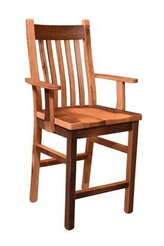 Mission Style Reclaimed Barnwood Bar Chair