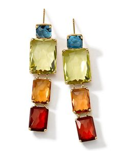 """18k Gold Rock Candy Gelato Multi-Stone Drop Earrings by Ippolita at Neiman Marcus.•Approx. 1 4/5"""" (47mm) long=2,995.<3 some day"""