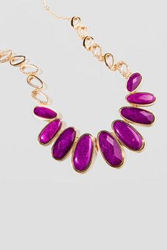 Old Main Statement Necklace in Purple