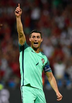#EURO2016 Cristiano Ronaldo of Portugal celebrates his team's second goal during the UEFA EURO 2016 semi final match between Portugal and Wales at Stade des...