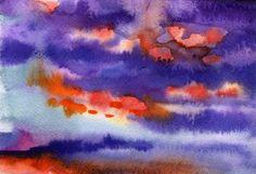 Beautiful sky at sunset - Watercolor digital art work