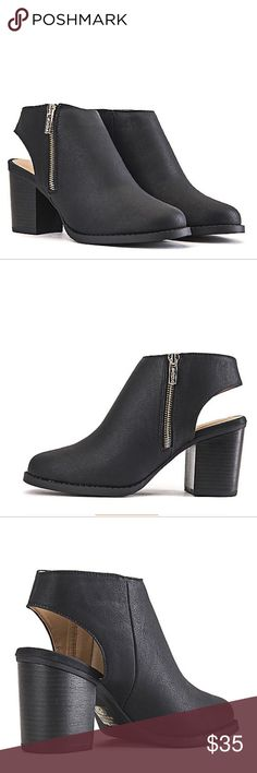 """•Ankle Booties• Black ankle booties,features a low inch and slingback heel giving the shoe a more laid-back,comfortable look/vegan leather upper/side zip closure/enclosed toe/wooden heel/heel height: 3.25""""/new in box/price is firm/thanks for looking                                                                     ❌No Trades❌ Soda  Shoes Ankle Boots & Booties"""