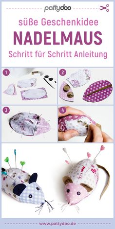 """Needle mouse >> free pincushion pattern - > kostenloses Nadelkissen Schnittmuster""""> Pincushion in the form of a cuddly toy mouse, free sewin - Sewing Patterns Free, Free Sewing, Sewing Tutorials, Sewing Projects, Crochet Patterns, Cactus Wall Art, Cactus Print, Diy Mode, Fabric Remnants"""