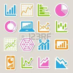 Business Graph sticker icon set. photo