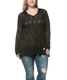 This A La Tzarina Black Burnout Hooded Tunic - Plus by A La Tzarina is perfect! #zulilyfinds
