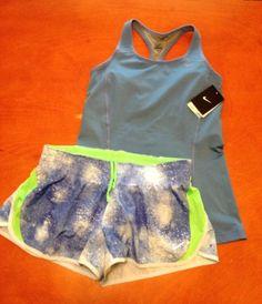 Nike LG Dri-Fit Victory Racerback Long Blue Sports Bra & LG DRI Tempo Shorts NWT
