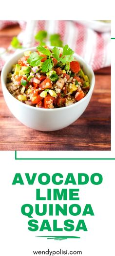 Looking for a fun way to mix up your salsa game?  You will love this Avocado Lime Quinoa Salsa.  All the flavors you love with a kick of nutrition to fuel your day.  A great healthy salsa option!