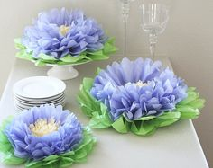 Butterfly Craze Girls Party Decorations - Set of 7 Tissue Paper Flowers … (Purple) Handmade Flowers, Diy Flowers, Fabric Flowers, Flowers Garden, Wedding Flowers, Cheap Flowers, Large Flowers, Girls Party Decorations, Garden Wedding Decorations