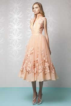 Tea length Peach princess dress in Organza and embroidered Tulle, with a high collar and a deep V-neckline.